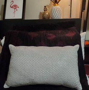 White & Silver Decorative Throw Pillow BNWOT